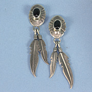 Sterling Feather Dangle Earrings Onyx Signed Nakai Vintage