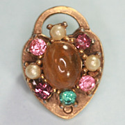 Coro Heart Pin Faux Pearls, Pink, Aqua,Lavender Topaz Glass Tiny