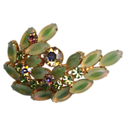 Juliana  D & E Frosted Green Navettes AB Stones Brooch Pin