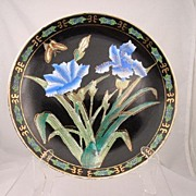 Porcelain Display Plate Asian Design Blue Flowers Butterfly Black
