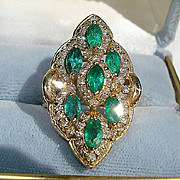 SALE 14K Yellow Gold, 2.66cts. Emeralds & 1.65cts. Diamond Ring