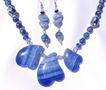 3 Blue Agate Heart Necklace & Earring Set