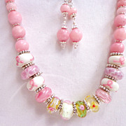 Morganite & Murano Lampwork Necklace & Earring Set