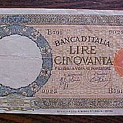 SALE 1942 Italy 50 Lire Banknote/Bank Note