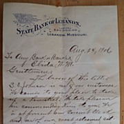 SALE August 24, 1906 State Bank of Lebanon Missouri Letter