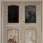 SALE Photo Album Page - 8 Vintage Photos of Men, Women & Children � 3 Tin Types