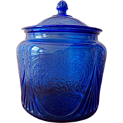 SALE Original Cobalt Blue Royal Lace Depression Glass Cookie Jar