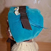 SALE Wonderful Vintage Blue Velvet & Lace Doll Bonnet