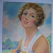 SALE Wonderful Vintage Calendar Print / Beautiful Young Woman