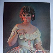 SALE Wonderful Vintage Victorian Style Calendar Print / Beautiful Young Woman