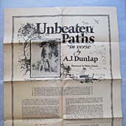 SALE Unbeaten Paths by A.J. Dunlap Illustrated by Walter Oehrle