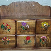 SALE Wonderful Vintage Wood 6 Drawer Sewing Notions Box
