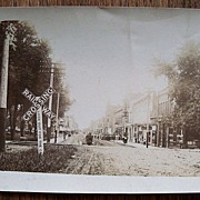 SALE Early 1900�s RPPC Postcard Buildings People Horses Buggies Railroad Track & Railway Cross