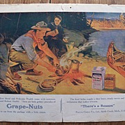 1909 Antique Grape-Nuts/Postum Cereal Ad � Colorful