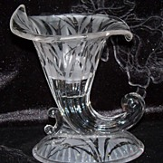 SALE Beautiful Vintage Clear Glass Horn of Plenty Candle Holder/Vase w/Etched Design
