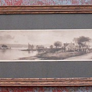 SALE Wonderful Framed Ullman Print Cottages by Water