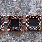 Unique Vintage Renoir Copper & Black Enamel Square Link Bracelet