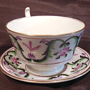 SALE Beautiful 19th Century Hand Painted Rose & Garland Cup & Cup Plate