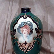 Exquisite Jeweled Toned Emerald Green & Blue Portrait Vase