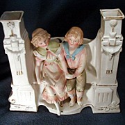 Unusual Bisque Planter Boy & Girl Seated on Garden Bench DCP Germany