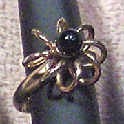 SALE 12 K Gold Filled Ring with Small Round Black Stone Size 6 �