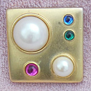 Square Gold Tone Pin Studded with Faux Pearls and Rhinestones