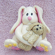 SALE Adorable Salt dough Bunny and Baby Bunny Pin