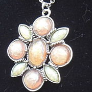 SALE Beautiful Pink and Blue Fiery Faux Opal and Silver Tone Pendant Necklace Signed SFJ