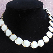 Attractive Gold Tone and White Lucite Choker Necklace Signed Karu