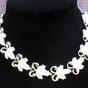 Pretty Gold Tone and White Leaf Choker Necklace