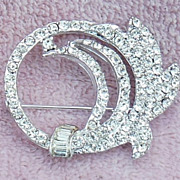 Beautiful Clear Rhinestone Circle Leaf Pin Signed