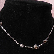 Quirky Silver Tone Chain Necklace Choker