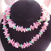 Long and Unusual Miniature Pink and Green Clam Shell Necklace