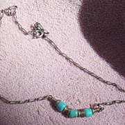 Silver Tone and Turquoise Colored Bead Chain Necklace Choker