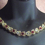 SALE Gold Tone Heart Link with Red and Clear Rhinestone Necklace Choker