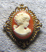 Beautiful Avon Gold Tone Cameo Pin and Perfume Locket