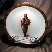 SALE Rare Minton Artist Signed Plate of Turkish Soldier Holding a Sword 19th Century