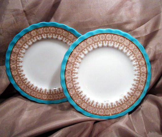 Two 6&quot; Royal Worcester Blue, Gold & White Plates