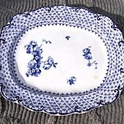 SALE 19th Century Ridgways Theodore Blue Transfer Ware Platter
