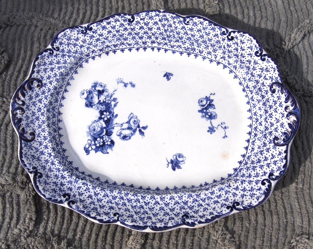 19th Century Ridgways Theodore Blue Transfer Ware Platter