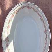 SALE Vienna Austria Porcelain Pink and White Flowers Oval Open Vegetable Bowl