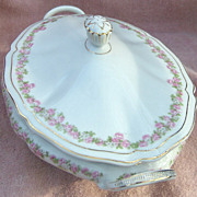 SALE Vienna Austria Porcelain Pink and White Flowers Handled Oval Covered Vegetable Bowl or Ca
