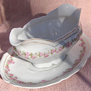 SALE Vienna Austria Porcelain Pink and White Flowers Oval Covered Open Gravy Boat with Underpl