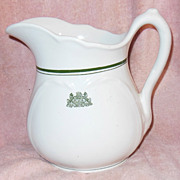 SALE White Ironstone Pitcher with Pennsylvania State Emblem and Motto