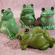 Set of Four Miniature Green Frogs Marked Hong Kong