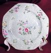 Pretty Octagonal  8 Green Floral Wessex Plate by F. Winkle & Co.