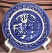 Flow Blue Willow Plate Circa 1900
