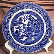 SALE Flow Blue Willow Plate Circa 1900