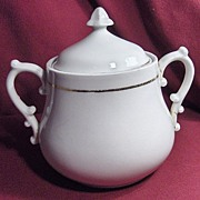 White Ironstone Sugar Bowl with Acorn Finial