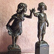 SALE Pair of Patinated Bronze Sculptures Boy and Girl Listed Artist Paul Ludwig Kowalczewski
